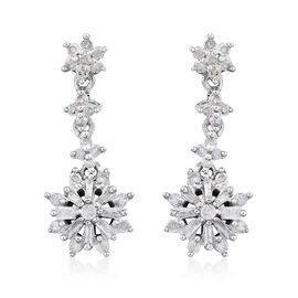Diamond (Rnd) Drop Earrings (with Push Back) in Platinum Overlay Sterling Silver 0.500 Ct.