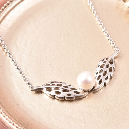 RACHEL GALLEY - Freshwater White Pearl Feather Necklace (Size 24)  in Rhodium Overlay Sterling Silver