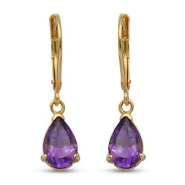 2.32 Ct Amethyst Solitaire Drop Earrings in Gold Plated Sterling Silver
