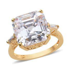 Super Auction- J Francis - Yellow Gold Vermeil Sterling Silver (Asscher Cut) Ring Made with SWAROVSK