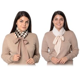 Set of 2 - Solid Colour and Pied De Poule Pattern Faux Fur Collar Scarf with Ribbon Strap (Size 7.62