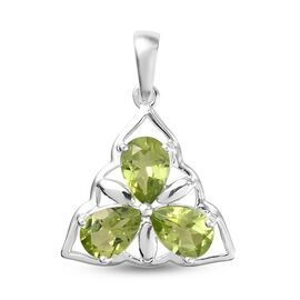Natural Hebei Peridot Pendant in Sterling Silver 2.39 Ct.