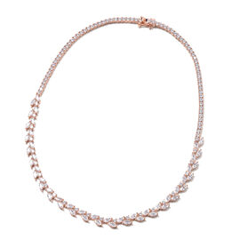 ELANZA Simulated Diamond Necklace (Size 18) in Rose Gold Overlay Sterling Silver 22.92 Ct, Silver wt