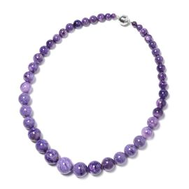 513 Ct AAAA Russian Charoite Beaded Necklace in Sterling Silver 20 Inch