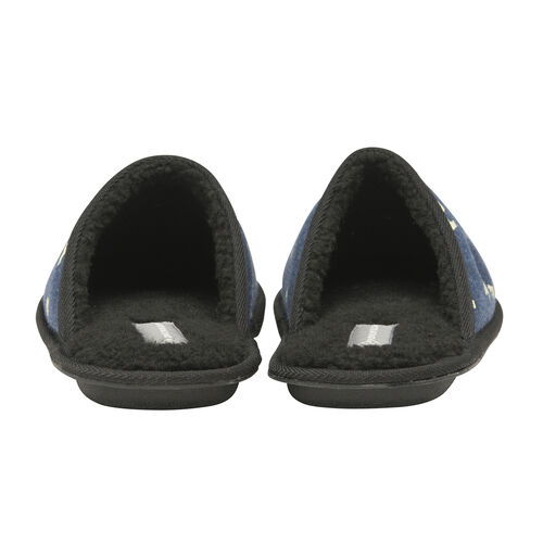Dunlop Mens Polar Bear Mule Slippers (Size Small) - Navy Blue