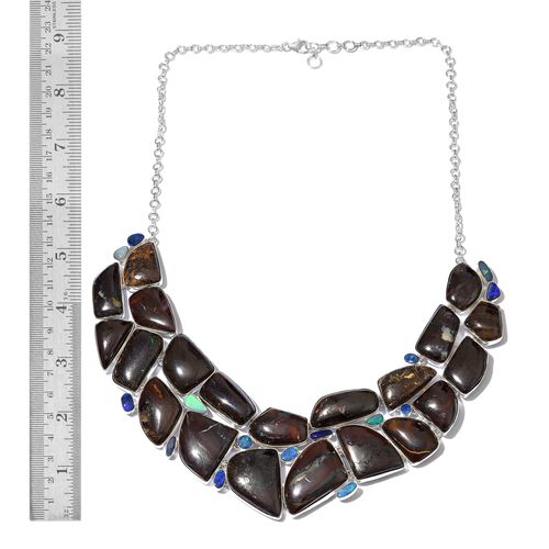 One Off A Kind- Boulder Opal Rock and Opal Double Necklace (Size 18 with 1 inch Extender) in Sterling Silver 524.360 Ct. Silver wt 61.73 Gms.