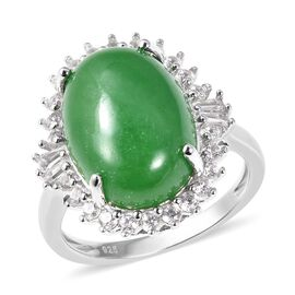 15.75 Ct Green Jade and Zircon Halo Ring in Rhodium Plated Sterling Silver 6.03 Grams