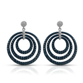 Blue and White Diamond (Rnd) Dangle Earrings (with Push Back) in Platinum Overlay with Blue Plating Sterling Silver 1.000 Ct, Silver wt 8.21 Gms, Number of Diamond 250