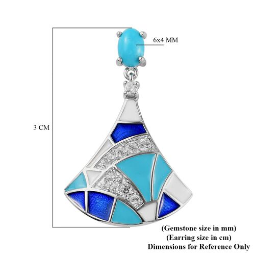 Arizona Sleeping Beauty Turquoise and Natural Cambodian Zircon Enamelled Dangling Earrings (with Push Back) in Platinum Overlay Sterling Silver 1.34 Ct, Silver wt. 6.00 Gms