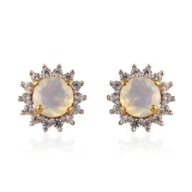 Ethiopian Welo Opal (Rnd), Natural Cambodian Zircon Earrings (with Push Back) in 14K Gold Overlay St