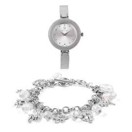 Set of 2 STRADA Japanese Movement Simulated White Diamond and White Crystal Studded Water Resistant Watch and Bracelet (Size 8) in Silver Tone