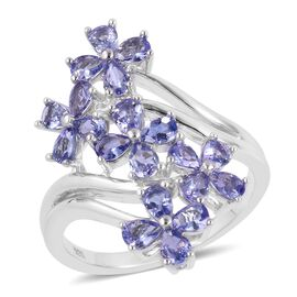 Tanzanite (Pear) Flower Ring in Rhodium Plated Sterling Silver 3.000 Ct. Silver wt 5.52 Gms.