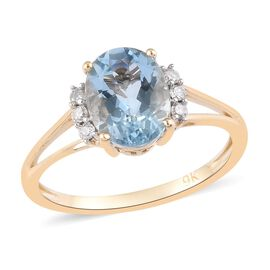 9K Yellow Gold AA Santamaria Aquamarine and White Diamond Ring 1.75 Ct.