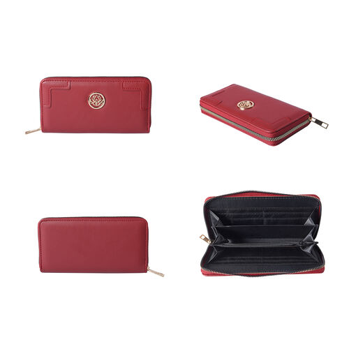 Solid Wine Red Colour RFID Clutch Wallet (Size 19.5x3x9.5cm) with Zipper Closure in Gold Tone