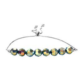 J Francis - Crystal From Swarovski Montana Crystal Bolo Bracelet (Size 10.5 Adjustable) in Platinum