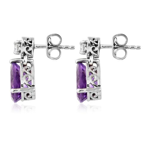 Amethyst, White Topaz Drop Earrings (with Push Back) in Platinum Plated Silver 3.75 Ct