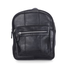 100% Genuine Leather Black Colour Backpack with Multi Pockets (Size 23x28x7 Cm)