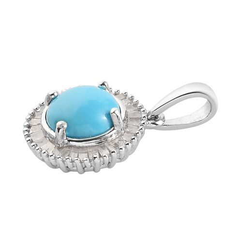 Arizona Sleeping Beauty Turquoise and White Diamond Halo Pendant in Platinum Overlay Sterling Silver 1.20 Ct.