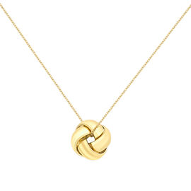 9K Yellow Gold 4-Way Knot Pendant with Diamond Cut Curb Chain (Size 18)