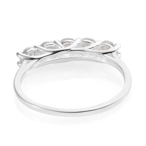 J Francis - Sterling Silver (Rnd) 5 Stone Ring Made with SWAROVSKI ZIRCONIA