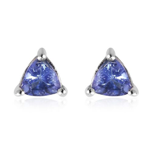 Tanzanite (Trl) Stud Earrings (with Push Back) in Platinum Overlay Sterling Silver 0.750 Ct.