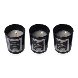 Set of 3 Home Decor - Aromatic White Candle and Black Glass Container (Size 6.5x5.5 Cm)