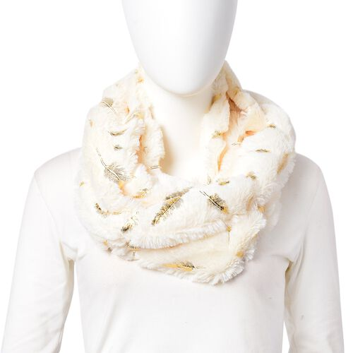 Designer Inspired - White and Golden Colour Angel Feather Pattern Faux Fur Infinity Scarf (Size 80x20 Cm)