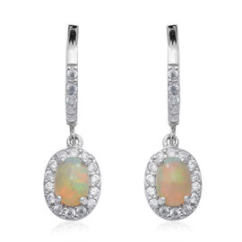 Ethiopian Welo Opal (Ovl), Natural Cambodian Zircon Earrings (with Clasp) in Rhodium Overlay Sterlin
