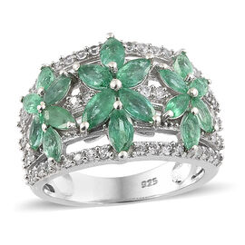 2.25 Ct AA Zambian Emerald and Cambodian Zircon Cluster Ring in Sterling Silver 5.1 Grams