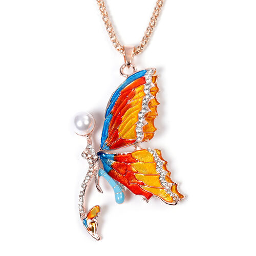 Simulated Pearl and White Austrian Crystal Enamelled Butterfly Pendant with Chain (Size 30 with Exte