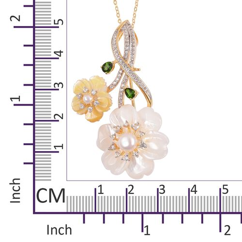 Jardin Collection - White and Yellow Mother of Pearl, Russian Diopside and Multi Gemstone Flower Pendant with Chain in Rhodium and Yellow Gold Overlay Sterling Silver