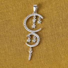 GP Natural Cambodian Zircon and Blue Sapphire Celestial Pendant in Platinum Overlay Sterling Silver