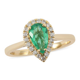ILIANA 18K Yellow Gold AAA Boyaca Colombian Emerald (Pear 8x5mm), Diamond (SI/G-H) Ring 0.90 Ct.