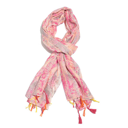 Italian Close Out Deal - Pink, Peach and Multi Colour Scarf with Tassels (Size 180x100 Cm)