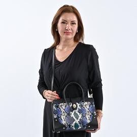 SENCILLEZ Genuine Leather Snake Print Convertible Bag with Long Strap - Black, Blue & Green