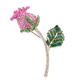 Pink Sapphire Colour Multi Colour Austrian Crystal (Rnd) Rose Bud Brooch in Yellow Gold Tone