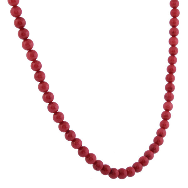 Red Coral (Rnd) Beads Necklace (Size 18) in Rhodium Overlay Sterling Silver 88.00 Ct.