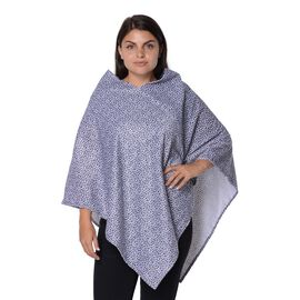 Leopard Pattern Winter Free Size Poncho (L-85 Cm) - Grey and White