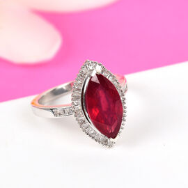 African Ruby and Diamond Ring in Platinum Overlay Sterling Silver 3.80 Ct.