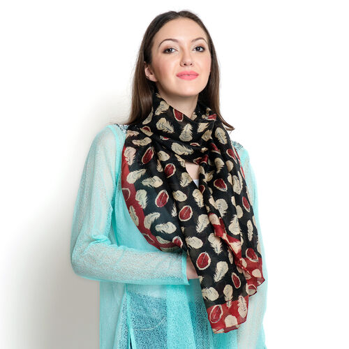 100% Mulberry Silk Red, Black and Multi Colour Feather Pattern Scarf (Size 180x100 Cm)