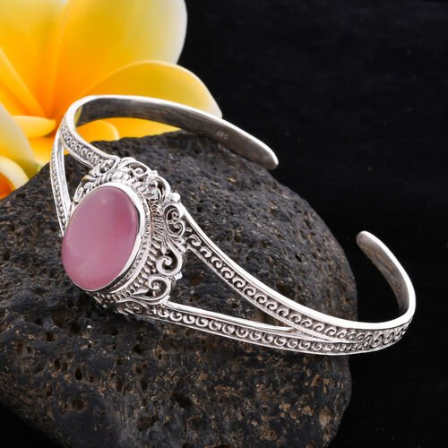 Royal Bali Collection - Pink Jade Cuff Bangle (Size 7.5) in Sterling Silver 18.87 Ct, Silver wt 21.55 Gms
