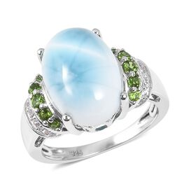 Larimar (Ovl), Russian Diopside, Natural White Cambodian Zircon Ring in Rhodium Overlay Sterling Sil