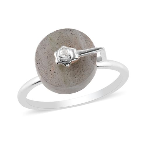 Fire Labradorite and Natural Cambodian Zircon Ring in Sterling Silver 3.76 Ct.