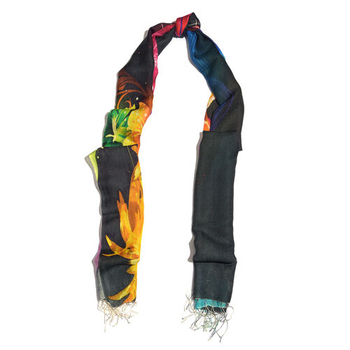 100% Katan Silk Black, Mustard and Multi Colour Digital Print Floral Pattern Scarf with Tassels (Size 200X70 Cm) Finish Wt. 100Gms
