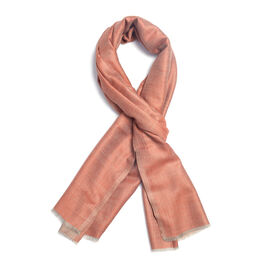 100% Cashmere Wool Rose Gold Colour Scarf with Fringes (Size 200X70 Cm)