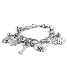 Designer Inspired-Stainless Steel Multi Charms Bracelet (Size 7.5 and 1 inch Extender)