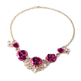 Simulated Pink Sapphire and White Austrian Crystal Valentine Theme Rose Necklace (Size 22 with Exten