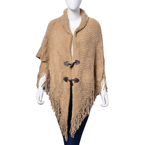 Camel Colour Double Layer Ruana with Collar and Two Button (Free Size)