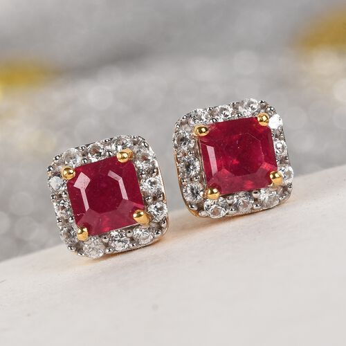 African Ruby (Oct), Natural Cambodian Zircon Earrings (with Push Back) in 14K Gold Overlay Sterling Silver 2.50 Ct.