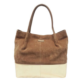 ASSOTS LONDON Donna Genuine Suede Leather Slouchy Metallic Shopper (Size 38x38x13cm) - Tan & Yellow